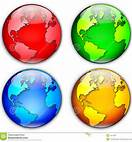 4 colored globes