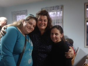 (L to R) Lydia, Nina and Biljana at the church in Darda, Croatia