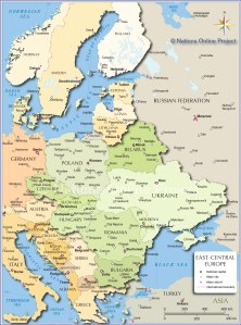 central-eastern-europe-map with travel arrows
