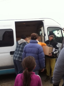 unloading food from van