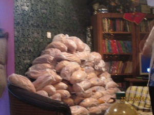 bread stacked on couch