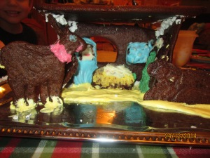 Close-up of the gingerbread stable scene