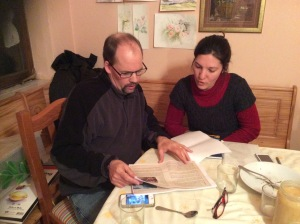 Discussing Bayash Bible translation with Biljana