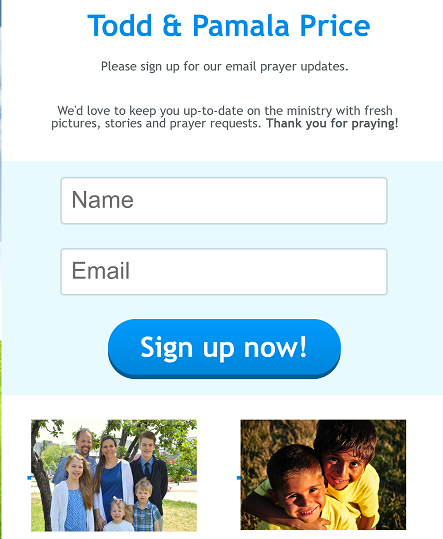 Sign up for our prayer update e-mails
