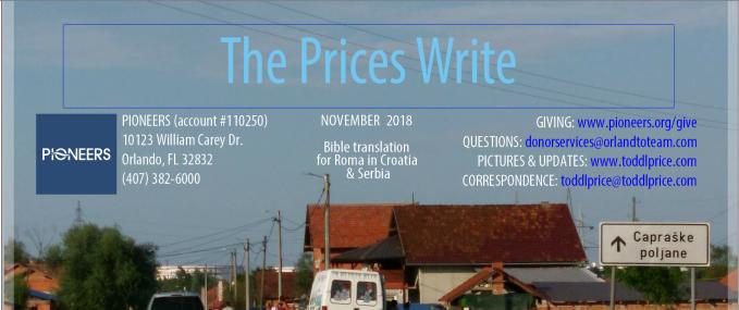 Daily Prayer Calendar for November 2018 (The Prices Write, part2)